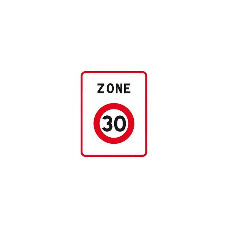 Panneau Code de la route signalant l'entrée d'une zone à30km/hB30