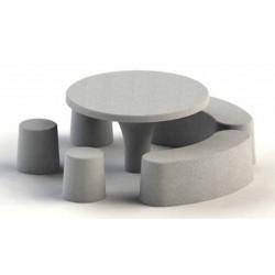Table pique-nique en béton moderne avec tabourets et banquettes