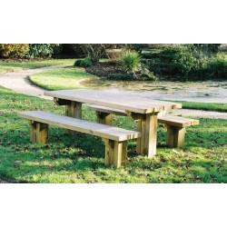 Table pique-nique 200cm ou 300cm avec bancs séparés