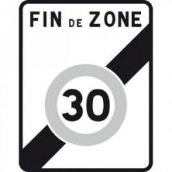 Panneau designalisation de sortie d'une zone à30km/h B51