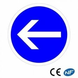 Panneau designalisation indiquant uneobligation detourner àgauche (B21.2)