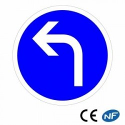Panneau designalisation direction obligatoire àgauche (B21c2)