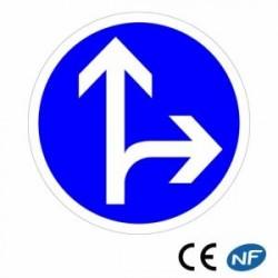 Panneau designalisation de directions obligatoires tout droit ou à droite (B21d1)