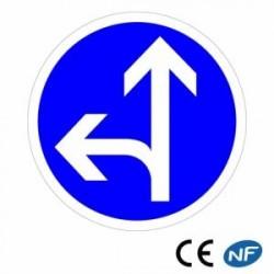 Panneau designalisation de directions obligatoires tout droit ou à gauche (B21d2)