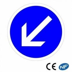 Panneau designalisation decontournement obligatoire parlagauche (B21a2)
