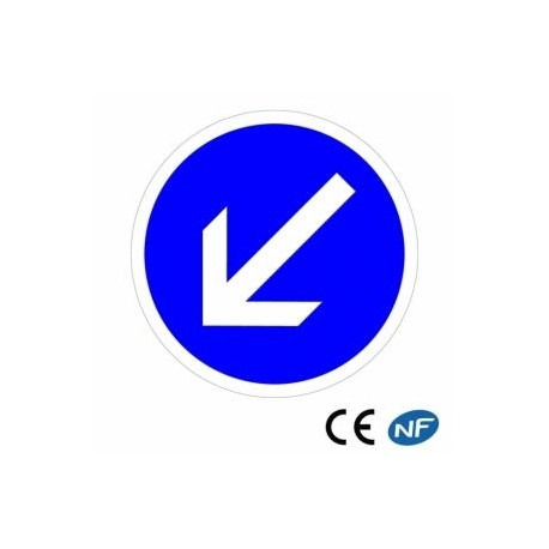 Panneau designalisation decontournement obligatoire par la gauche (B21a2)