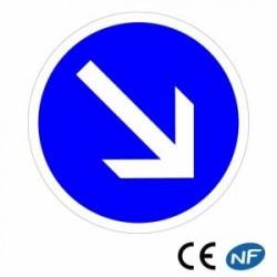 Panneau designalisation decontournement obligatoire parladroite (B21a1)