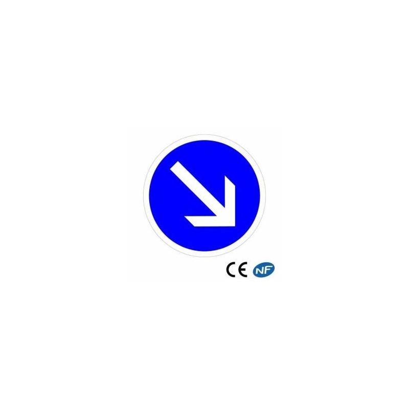 Panneau Code de la route : contournement obligatoire par la droite