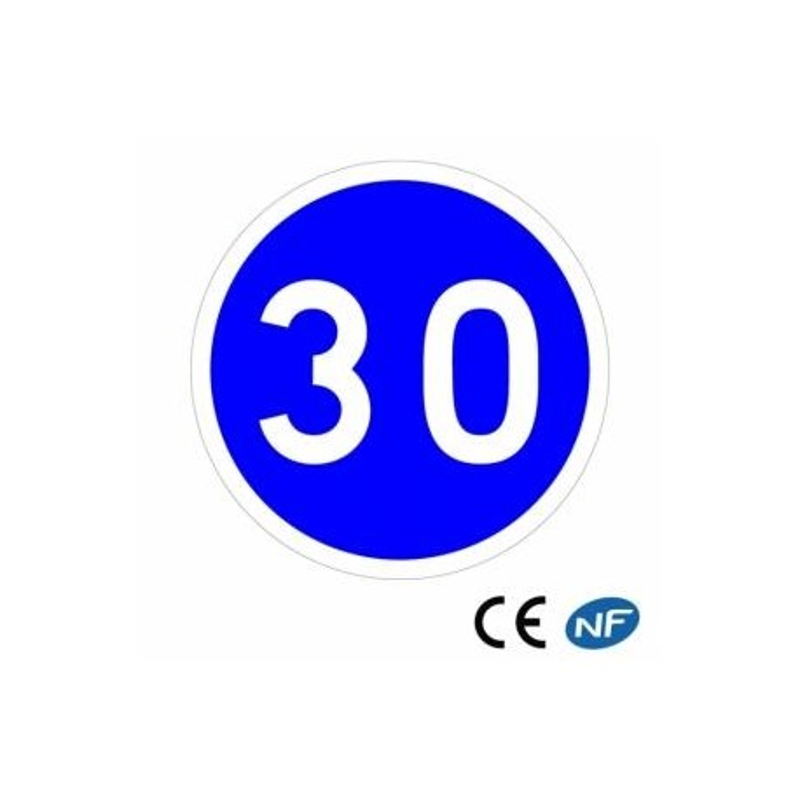Panneau de signalisation annonçant une vitesse obligatoire d'au minimum 30 km/h