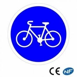 Panneau designalisation piste ou bande cyclable obligatoire (B22a)