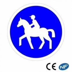 Panneau designalisation indiquant un chemin obligatoire pourcavaliers (B22c)