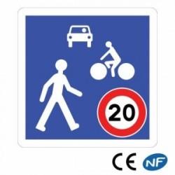 Panneau de signalisation d'indication d'une zone de rencontre (B52)