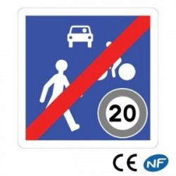 Panneau de signalisation indication d'une fin dezone derencontre (B53)