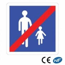 Panneau de signalisation indiquant une fin de zone piétonne (B55)