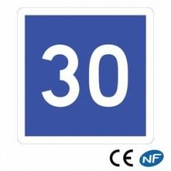 Panneau Code de la route indiquant une vitesse conseillée (C4a)