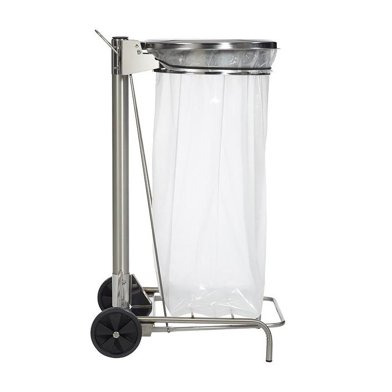 Un chariot en inox pour sac poubelle pour collectivités