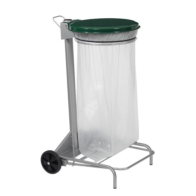 Support sac poubelle tri sélectif couvercle vert pour sac 50 l ou 110 l