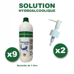 Bouteilles de solution hydroalcoolique prêtàl'emploi, sansrinçage X9bouteillesde1L