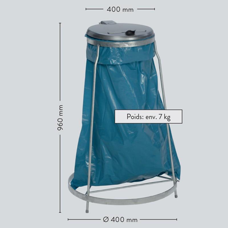 Support en acier pour sac poubelle 120 L. empilable