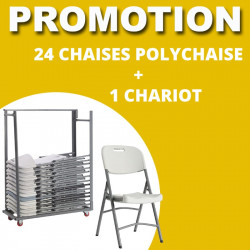 Lot de 24 polychaise + 1 chariot de stockage