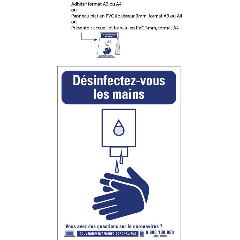 Signalétique point de désinfection des mains A4, A3 ou chevalet