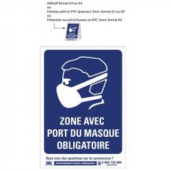 """Signalétique """"port du masque obligatoire"""" PVC, Adhésif ou chevalet"""