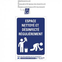 Affichage informant un espace nettoyé et désinfecté régulièrement