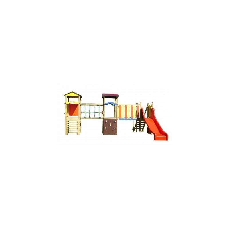 Structure de jeux en bois de plein air avec toboggan et mur d'escalade - 2 à 6 ans