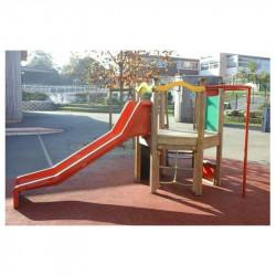 Toboggan avec escalier, mur d'escalade et barre de pompier pour les 2 à 6 ans