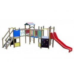 Grand espace de jeux bois pour enfants de 2 à 6 ans avec toboggan