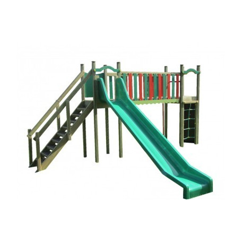 Structure de jeux pour les enfants de 3 à 8 ans, barre pompiers, toboggan et filet de grimpe