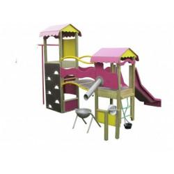 Structure de jeux en bois toboggan LA PLAYA - 2 à 8 ans
