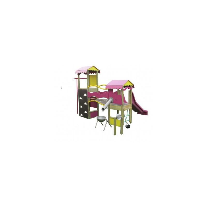 Belle structure de jeux toboggan et barre de pompiers pour les 2 - 8 ans
