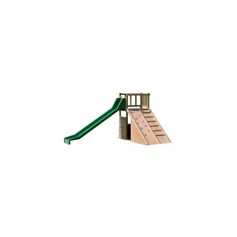Grand toboggan avec mur de grimpe avec tasseaux et prises d'escalade