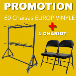 Lot de 60 chaises pliantes Europ vinyle avec son chariot de transport