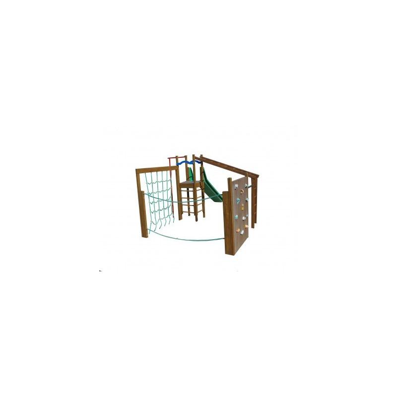 Structure de jeux en bois PAGO PAGO toboggan et jeux à grimper