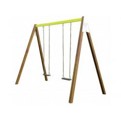 2 balançoires sur un portique en bois et en acier pour les 3 à 12 ans