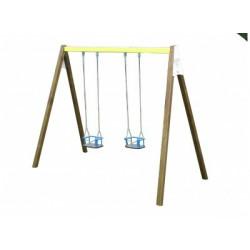 Portique de 2 m en bois et en acier livré avec 2 nacelles pour bébés de 0 à 3 ans