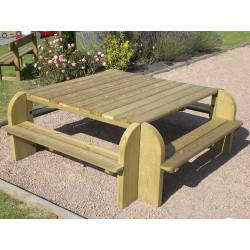 Table pique-nique carrée 8-10 places en bois traité autoclave DORDOGNE