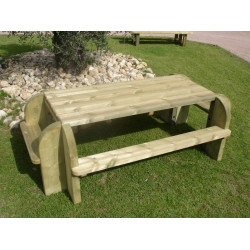 Table pique-nique rectangulaire 8 places en bois traité autoclave DORDOGNE