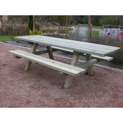 Grande table de pique-nique en bois adaptée PMR