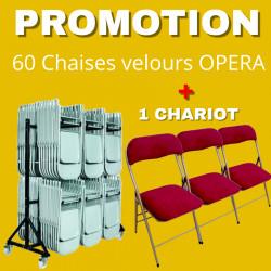 Lot de 60 Chaises pliantes Opéra en velours + 1 chariot