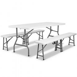 Ensemble table pliante + bancs pliant en polypro