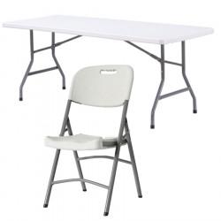 Promo, lot de 5 tables polypro et 32 chaises polypro