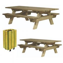 Lot de 2 tables pique-nique Berlin à sceller et 1 corbeille