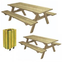 Lot de 2 tables pique-nique en bois Munich et 1 corbeille Brême