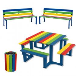 Lot spécial école primaire, table pique-nique + 2 bancs + 1 corbeille