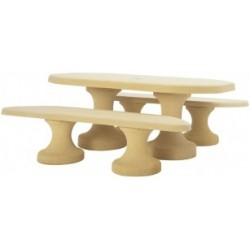 Table de pique-nique ovale en béton armé