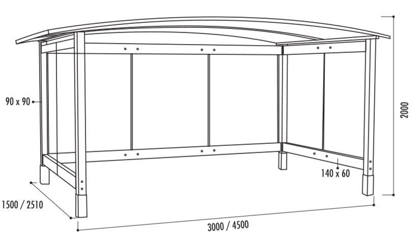 Les dimensions de l'abri bus ViToria