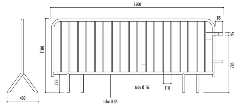 Dessin technique et dimensions de la barrière de police 18 barreaux - DMC Direct